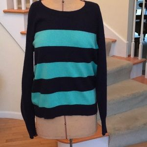 100% Cashmere Sweater! Navy and Teal, Sz L